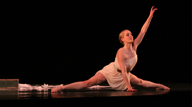 Female dance student at La Roche University performing on stage