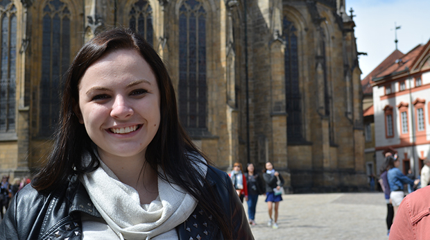 Female La Roche student enjoying her study abroad trip.