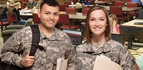 Two military students in the library