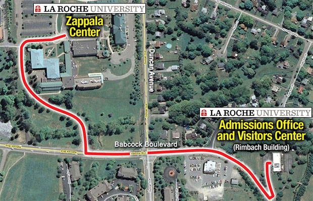 LRU Map from Visitors Center to Campus