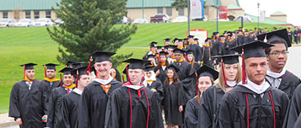 Graduates walking in procession